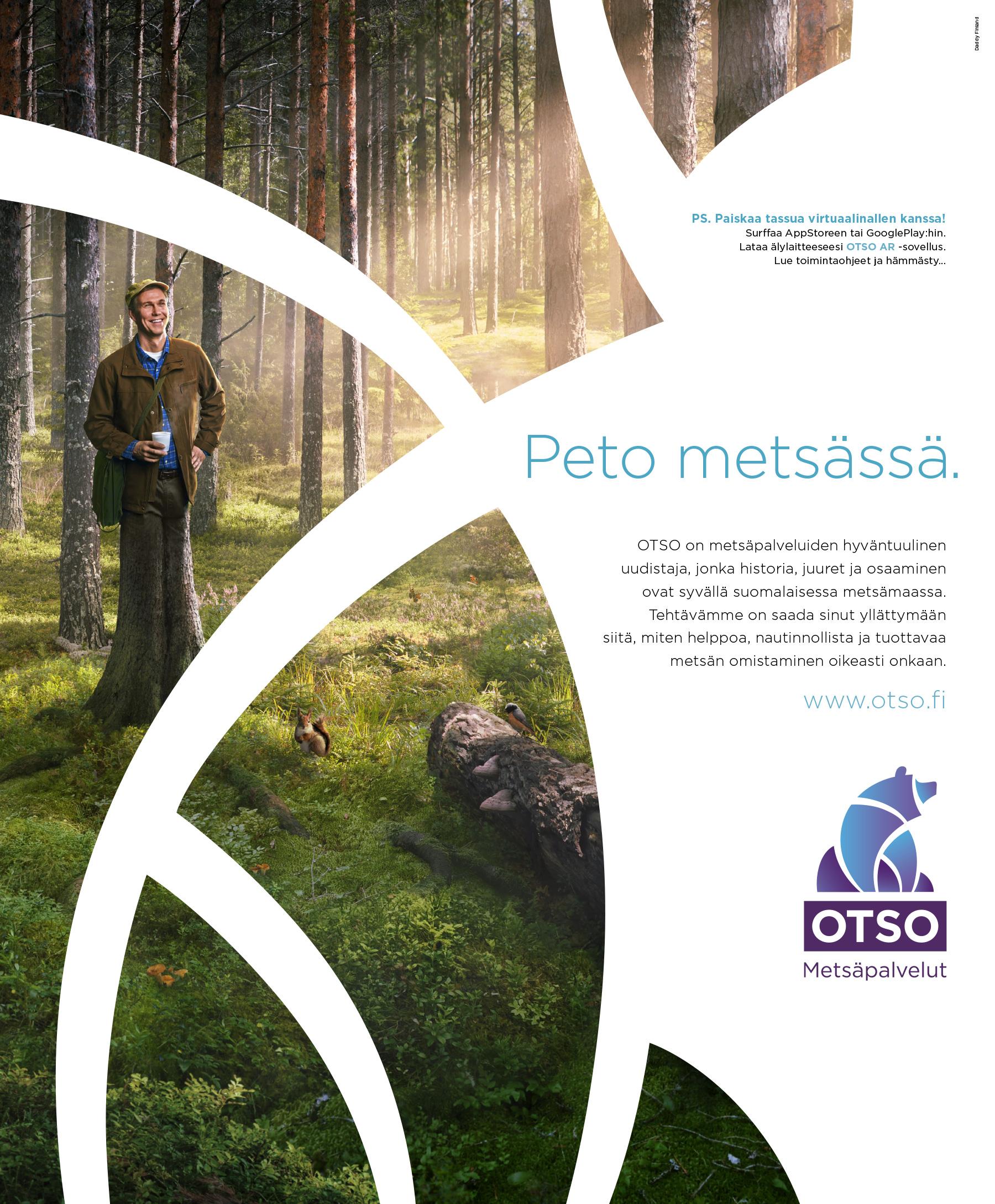 OTSO Metsäpalvelut -ilmoitus, AR-toteutus printti-ilmoituksen sisällä