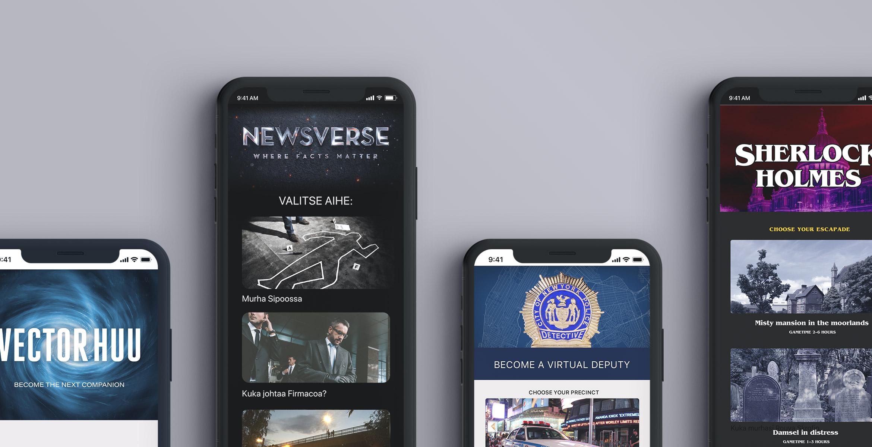 Newsverse toimittajasimulaattorin käyttöliittymäkuvia.
